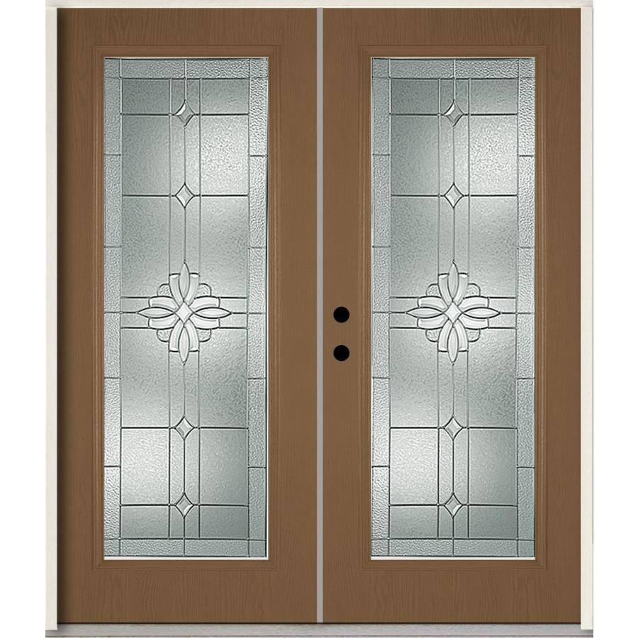 ReliaBilt Laurel Flush Insulating Core Full Lite Right-Hand Inswing Woodhaven Fiberglass Stained Prehung Entry Door (Common: 72-in x 80-in; Actual: 73.875-in x 81.75-in)