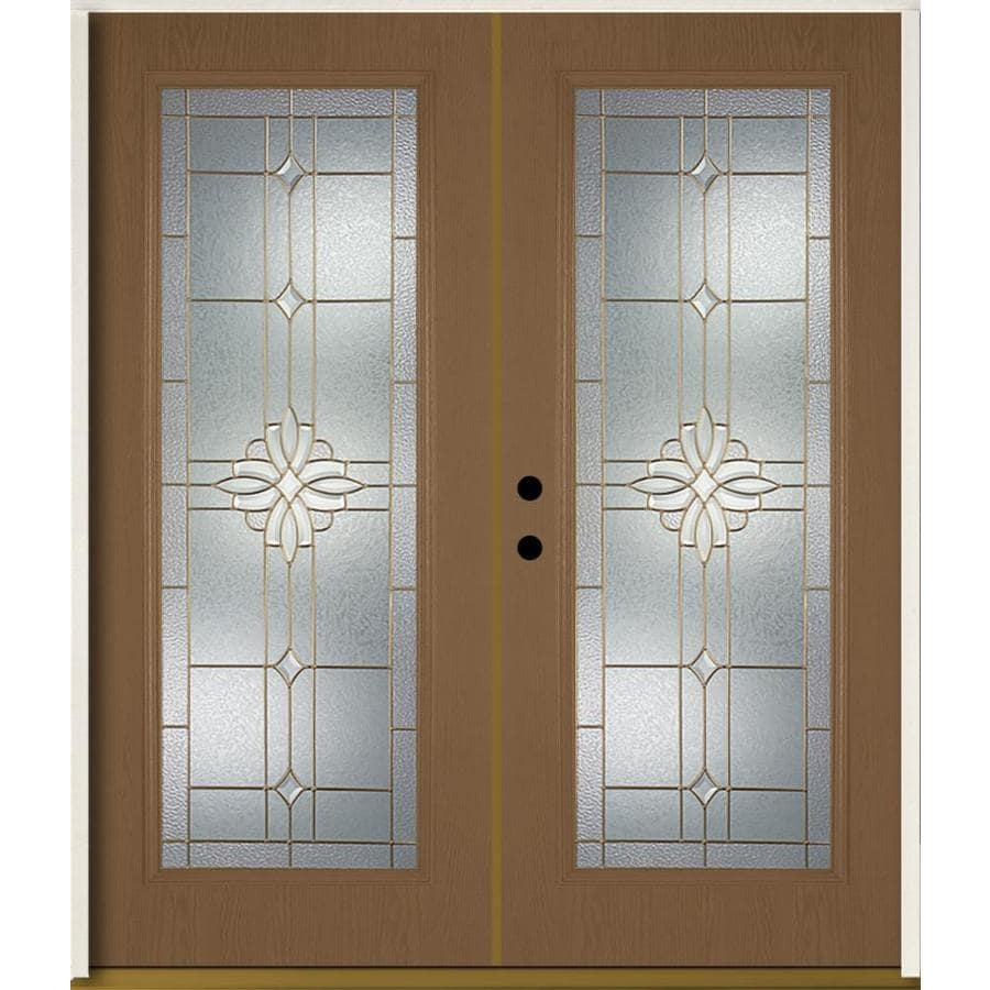 ReliaBilt Laurel Flush Insulating Core Full Lite Right-Hand Inswing Woodhaven Fiberglass Stained Prehung Entry Door (Common: 72.0-in x 80.0-in; Actual: 73.875-in x 81.75-in)