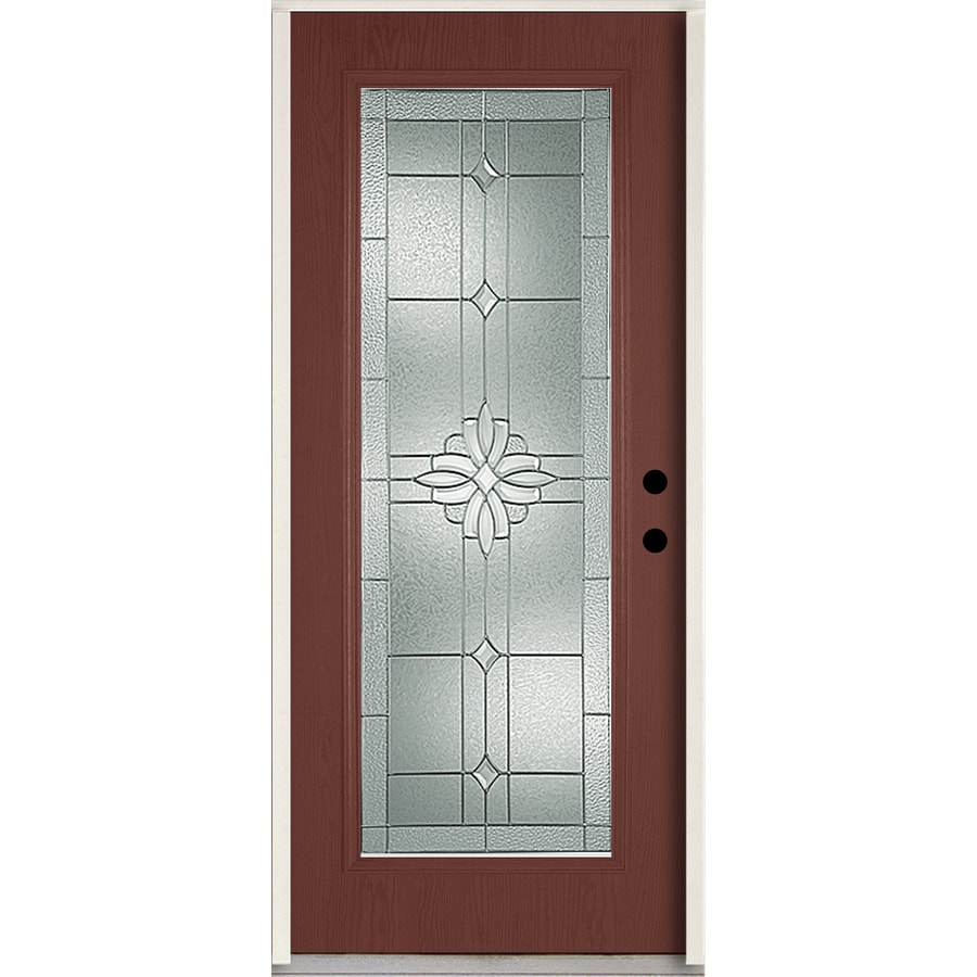 ReliaBilt Laurel Flush Insulating Core Full Lite Left-Hand Inswing Wineberry Fiberglass Stained Prehung Entry Door (Common: 36-in x 80-in; Actual: 37.5-in x 81.75-in)