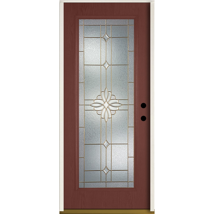 ReliaBilt Laurel Flush Insulating Core Full Lite Left-Hand Inswing Wineberry Fiberglass Stained Prehung Entry Door (Common: 36.0-in x 80.0-in; Actual: 37.5-in x 81.75-in)