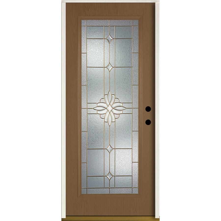 ReliaBilt Laurel Flush Insulating Core Full Lite Left-Hand Inswing Woodhaven Fiberglass Stained Prehung Entry Door (Common: 36.0-in x 80.0-in; Actual: 37.5-in x 81.75-in)