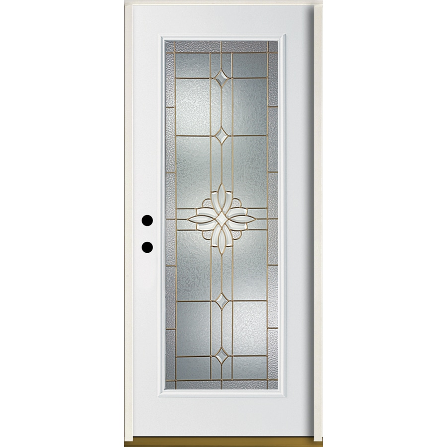 ReliaBilt Laurel Flush Insulating Core Full Lite Right-Hand Inswing Modern White Fiberglass Painted Prehung Entry Door (Common: 36.0-in x 80.0-in; Actual: 37.5-in x 81.75-in)