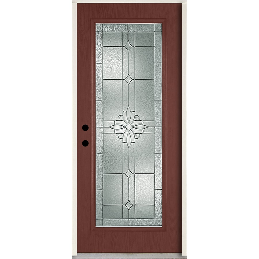 ReliaBilt Laurel Flush Insulating Core Full Lite Right-Hand Inswing Wineberry Fiberglass Stained Prehung Entry Door (Common: 36.0-in x 80.0-in; Actual: 37.5-in x 81.75-in)