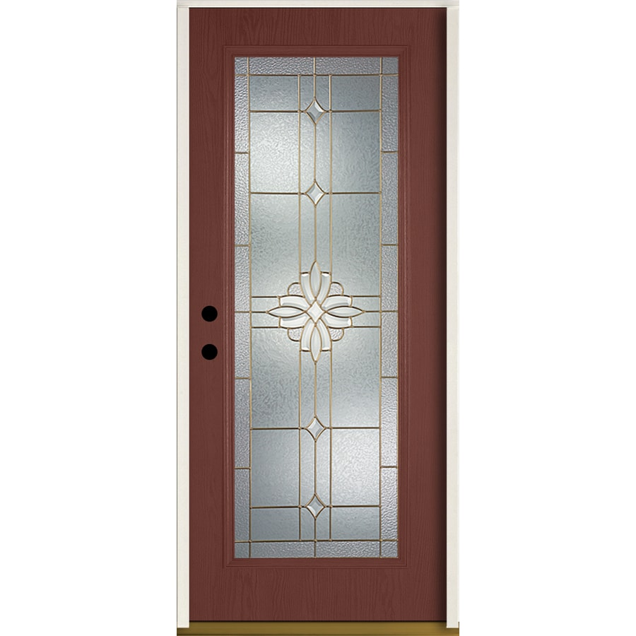 Shop Reliabilt Laurel Decorative Glass Right Hand Inswing Wineberry Fiberglass Stained Entry