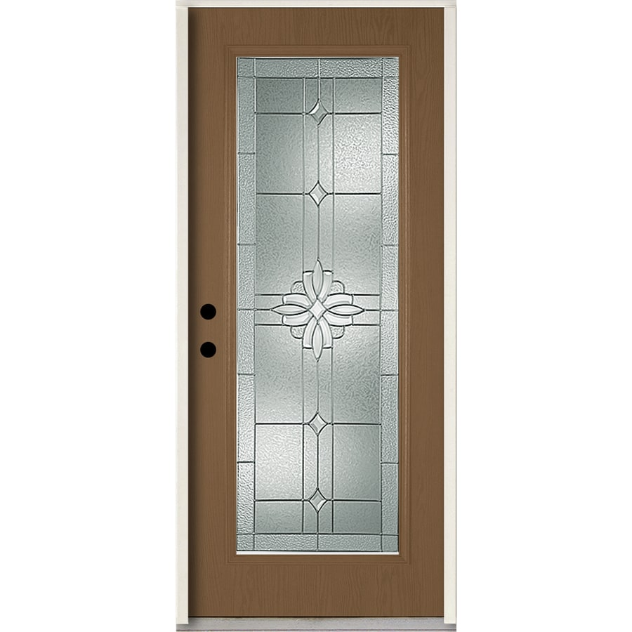 ReliaBilt Laurel Flush Insulating Core Full Lite Right-Hand Inswing Woodhaven Fiberglass Stained Prehung Entry Door (Common: 36-in x 80-in; Actual: 37.5-in x 81.75-in)