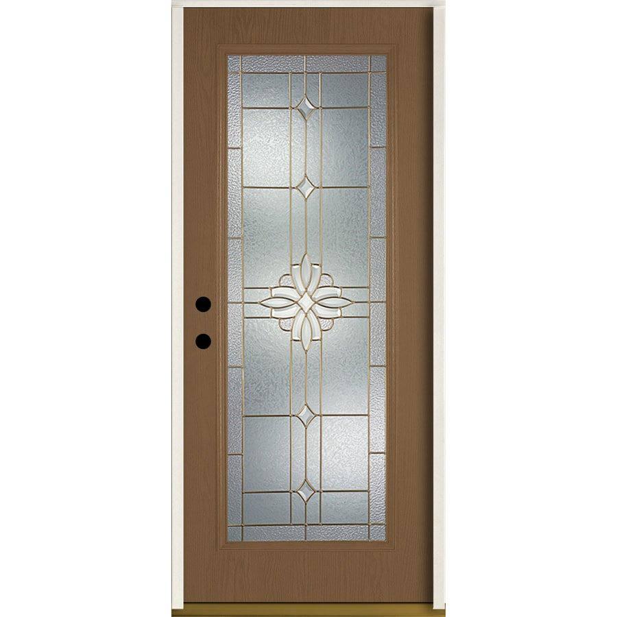 ReliaBilt Laurel Flush Insulating Core Full Lite Right-Hand Inswing Woodhaven Fiberglass Stained Prehung Entry Door (Common: 36.0-in x 80.0-in; Actual: 37.5-in x 81.75-in)