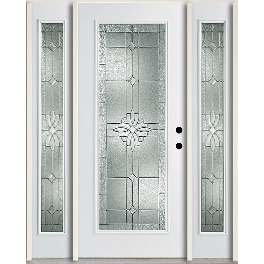 ReliaBilt Laurel Flush Insulating Core Full Lite Left-Hand Inswing Modern White Fiberglass Painted Prehung Entry Door (Common: 60-in x 80-in; Actual: 64.5-in x 81.75-in)