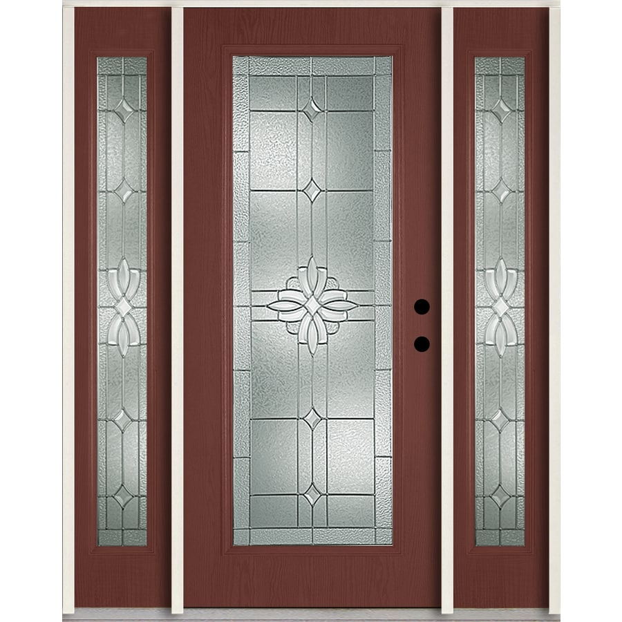 Shop reliabilt laurel decorative glass left hand inswing wineberry fiberglass stained entry door for Reliabilt decorative glass interior doors