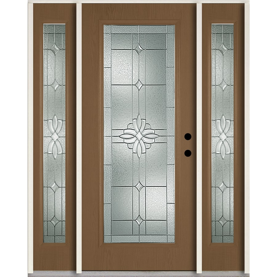 ReliaBilt Laurel Flush Insulating Core Full Lite Left-Hand Inswing Woodhaven Fiberglass Stained Prehung Entry Door (Common: 60-in x 80-in; Actual: 64.5-in x 81.75-in)
