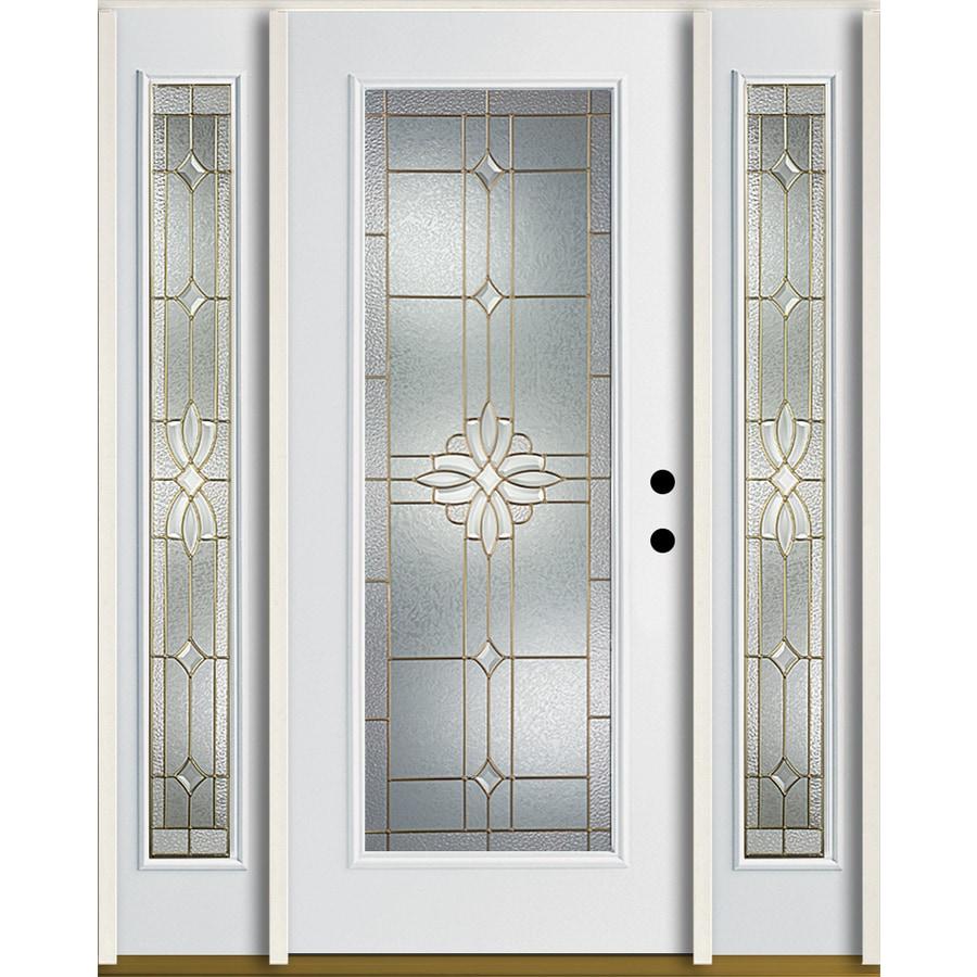 ReliaBilt Laurel Flush Insulating Core Full Lite Left-Hand Inswing Modern White Fiberglass Painted Prehung Entry Door (Common: 60.0-in x 80.0-in; Actual: 64.5-in x 81.75-in)