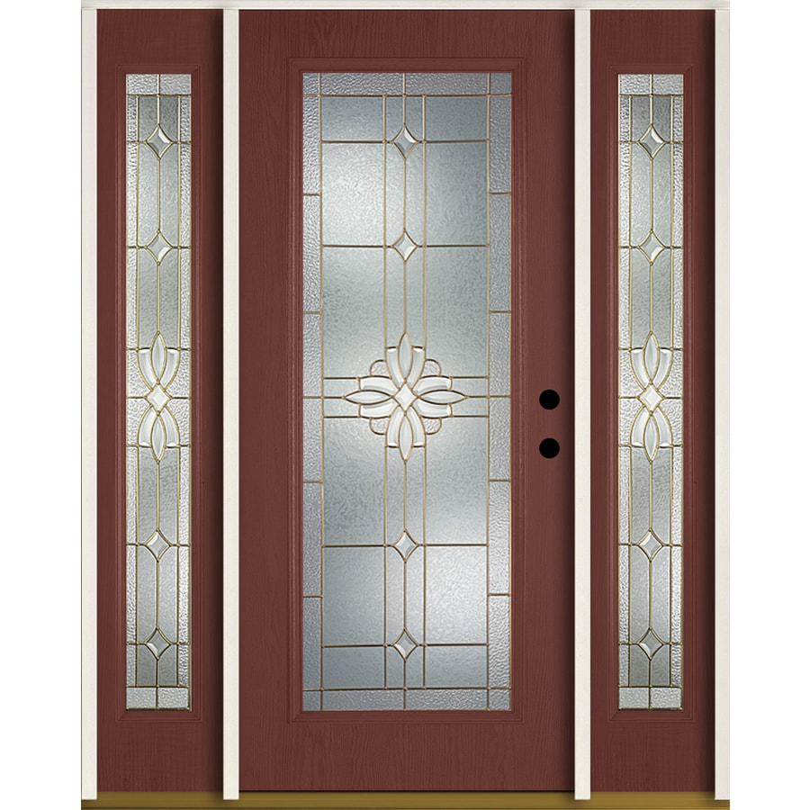 ReliaBilt Laurel Flush Insulating Core Full Lite Left-Hand Inswing Wineberry Fiberglass Stained Prehung Entry Door (Common: 60.0-in x 80.0-in; Actual: 64.5-in x 81.75-in)
