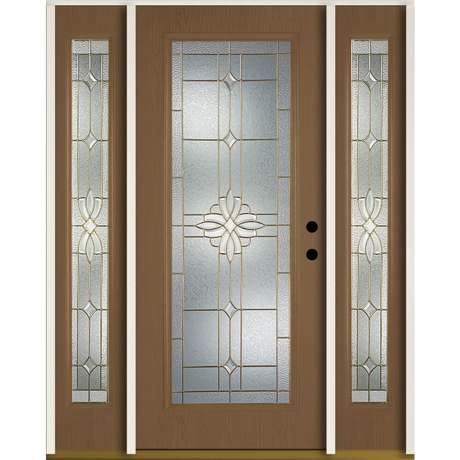ReliaBilt Laurel Flush Insulating Core Full Lite Left-Hand Inswing Woodhaven Fiberglass Stained Prehung Entry Door (Common: 60.0-in x 80.0-in; Actual: 64.5-in x 81.75-in)