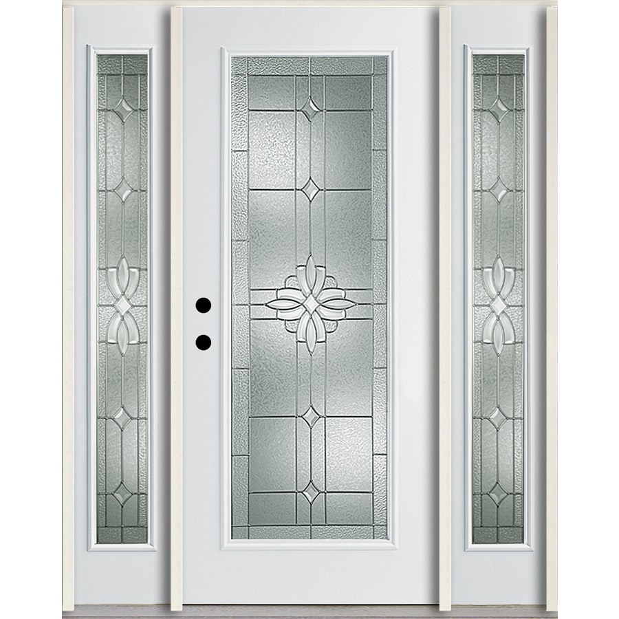 ReliaBilt Laurel Decorative Glass Right-Hand Inswing Modern White Fiberglass Painted Entry Door (Common: 60-in x 80-in; Actual: 64.5-in x 81.75-in)