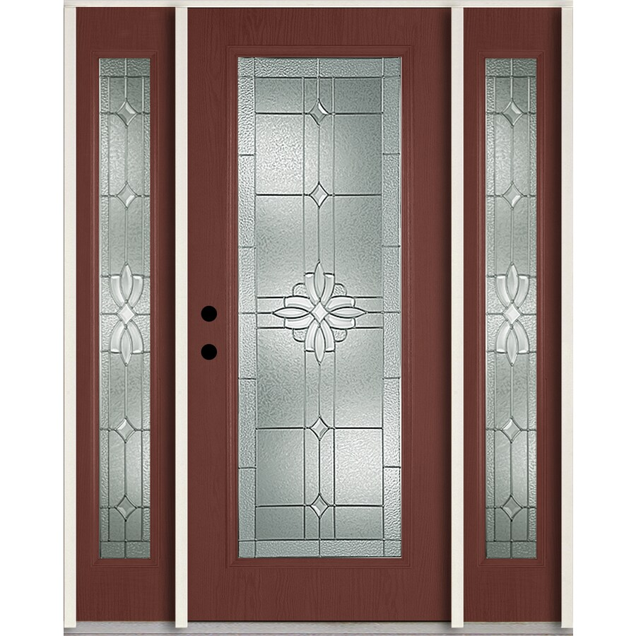 ReliaBilt Laurel Flush Insulating Core Full Lite Right-Hand Inswing Wineberry Fiberglass Stained Prehung Entry Door (Common: 60-in x 80-in; Actual: 64.5-in x 81.75-in)