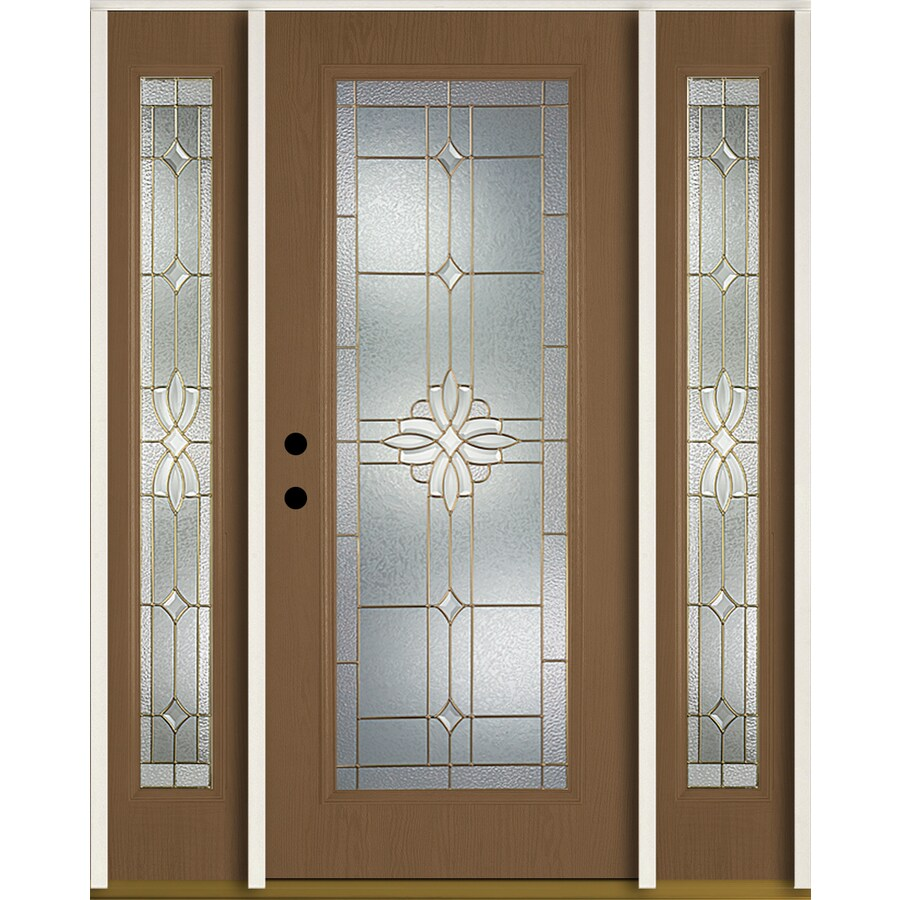 ReliaBilt Laurel Flush Insulating Core Full Lite Right-Hand Inswing Woodhaven Fiberglass Stained Prehung Entry Door (Common: 60-in x 80-in; Actual: 64.5-in x 81.75-in)