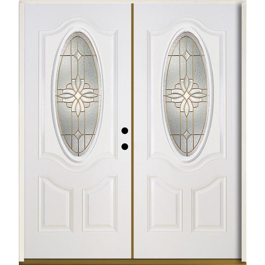 ReliaBilt Laurel 3-Panel Insulating Core Oval Lite Left-Hand Inswing Modern White Fiberglass Painted Prehung Entry Door (Common: 72.0-in x 80.0-in; Actual: 73.875-in x 81.75-in)