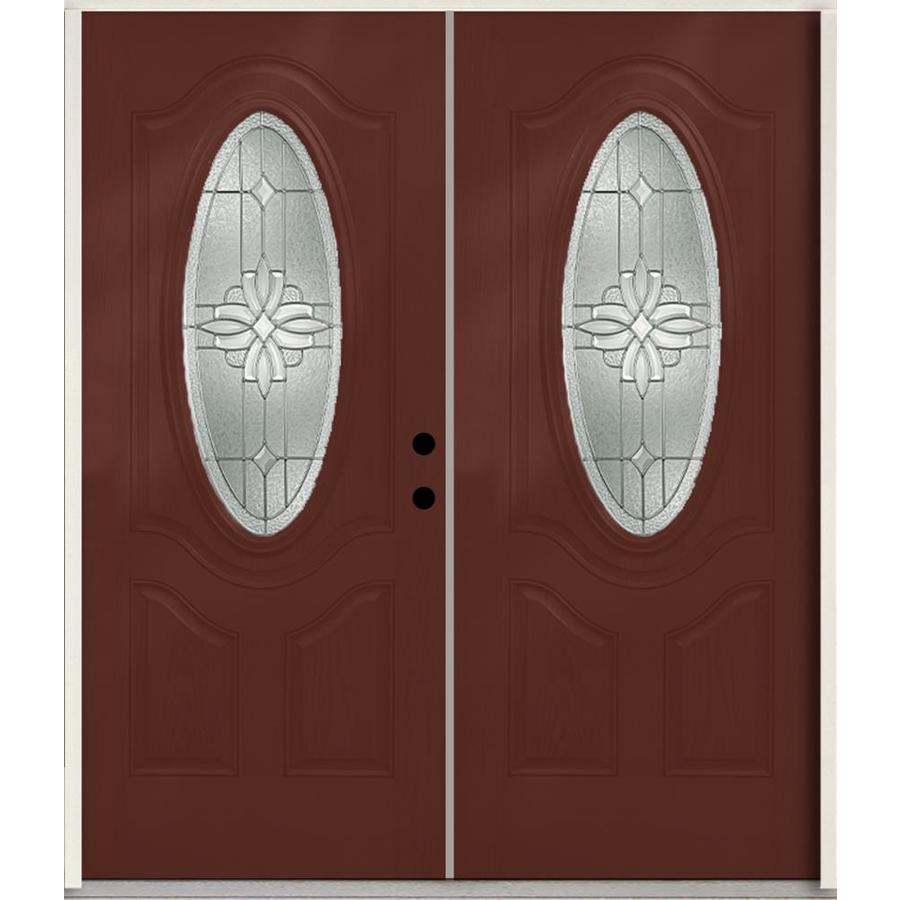 ReliaBilt Laurel 3-Panel Insulating Core Oval Lite Left-Hand Inswing Wineberry Fiberglass Stained Prehung Entry Door (Common: 72.0-in x 80.0-in; Actual: 73.875-in x 81.75-in)
