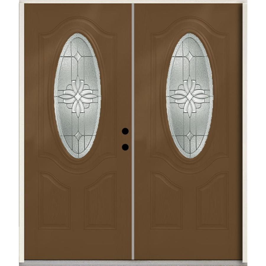 ReliaBilt Laurel 3-Panel Insulating Core Oval Lite Left-Hand Inswing Woodhaven Fiberglass Stained Prehung Entry Door (Common: 72.0-in x 80.0-in; Actual: 73.875-in x 81.75-in)