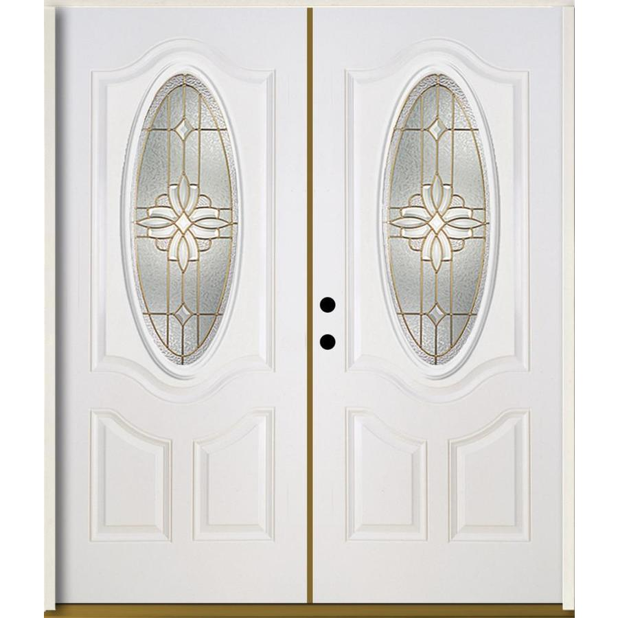 ReliaBilt Laurel 3-Panel Insulating Core Oval Lite Right-Hand Inswing Modern White Fiberglass Painted Prehung Entry Door (Common: 72.0-in x 80.0-in; Actual: 73.875-in x 81.75-in)