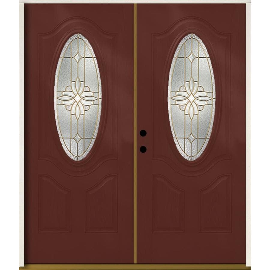 ReliaBilt Laurel 3-Panel Insulating Core Oval Lite Right-Hand Inswing Wineberry Fiberglass Stained Prehung Entry Door (Common: 72-in x 80-in; Actual: 73.875-in x 81.75-in)