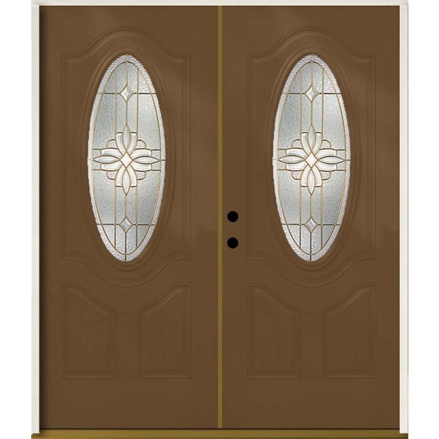 ReliaBilt Laurel Decorative Glass Right-Hand Inswing Woodhaven Fiberglass Stained Entry Door (Common: 72-in x 80-in; Actual: 73.875-in x 81.75-in)