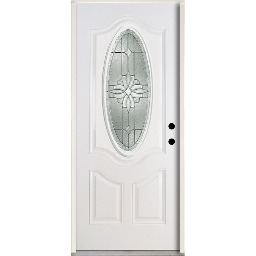 ReliaBilt Laurel 3-panel Insulating Core Oval Lite Left-Hand Inswing Modern White Fiberglass Painted Prehung Entry Door (Common: 36-in x 80-in; Actual: 37.5-in x 81.75-in)