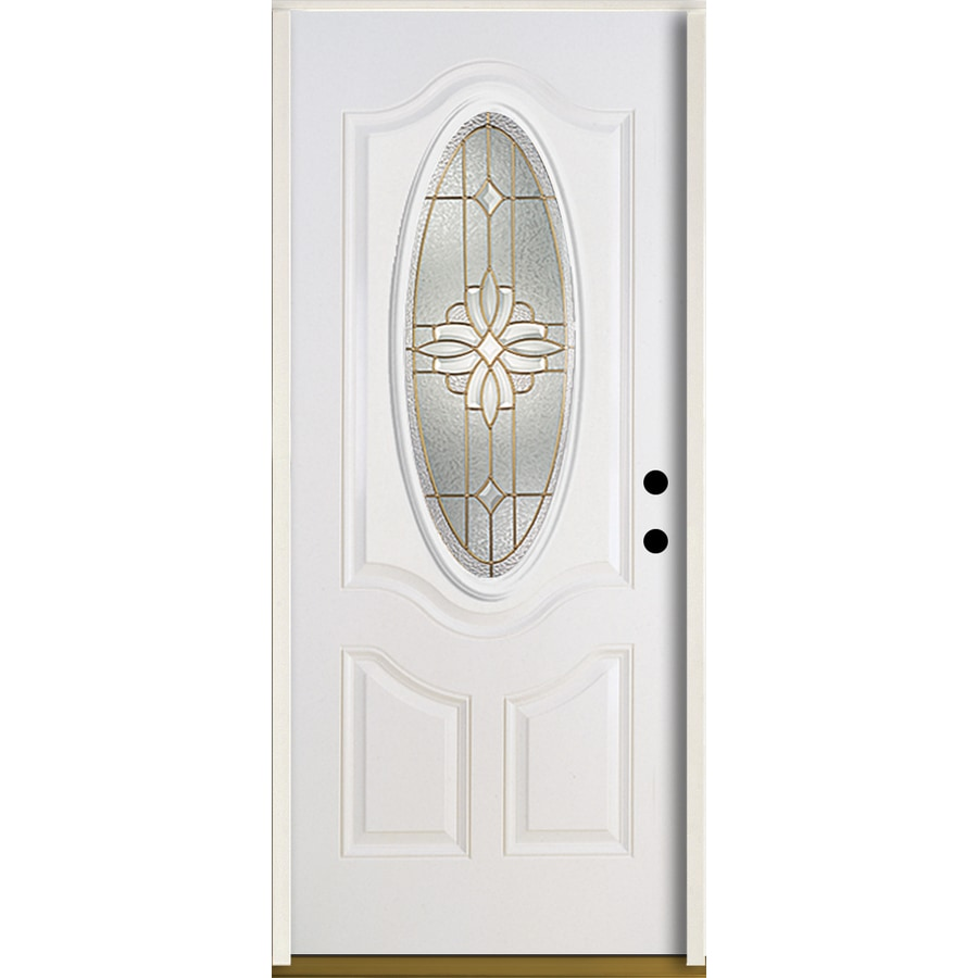ReliaBilt Laurel 3-Panel Insulating Core Oval Lite Left-Hand Inswing Modern White Fiberglass Painted Prehung Entry Door (Common: 36.0-in x 80.0-in; Actual: 37.5-in x 81.75-in)