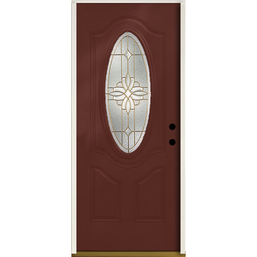 ReliaBilt Laurel 3-panel Insulating Core Oval Lite Left-Hand Inswing Wineberry Fiberglass Stained Prehung Entry Door (Common: 36-in x 80-in; Actual: 37.5-in x 81.75-in)