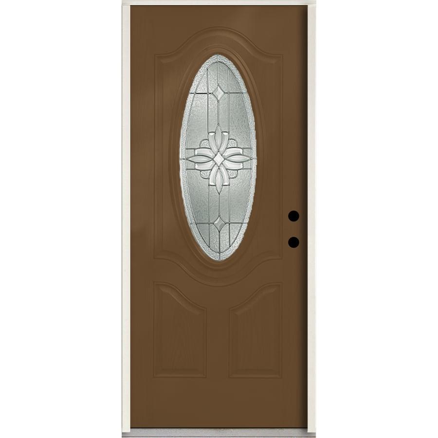 ReliaBilt Laurel 3-panel Insulating Core Oval Lite Left-Hand Inswing Woodhaven Fiberglass Stained Prehung Entry Door (Common: 36-in x 80-in; Actual: 37.5-in x 81.75-in)