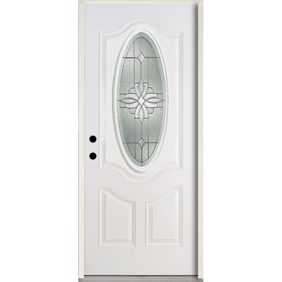 ReliaBilt Laurel 3-Panel Insulating Core Oval Lite Right-Hand Inswing Modern White Fiberglass Painted Prehung Entry Door (Common: 36.0-in x 80.0-in; Actual: 37.5-in x 81.75-in)