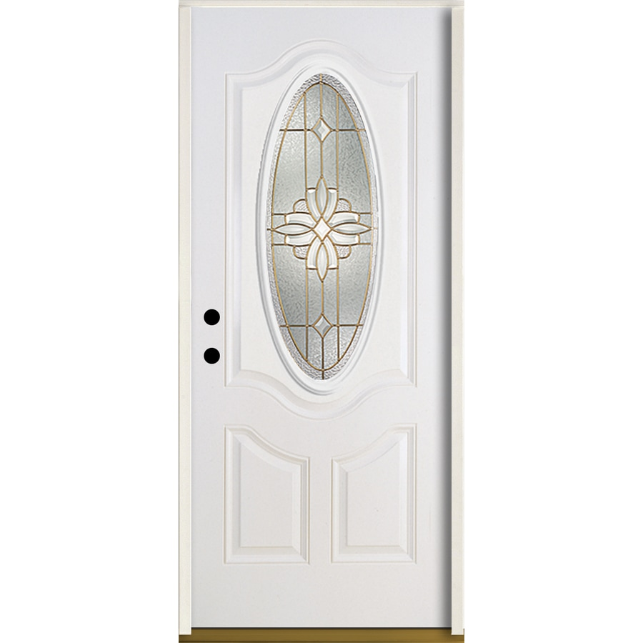 ReliaBilt Laurel Decorative Glass Right-Hand Inswing Modern White Fiberglass Painted Entry Door (Common: 36-in x 80-in; Actual: 37.5-in x 81.75-in)