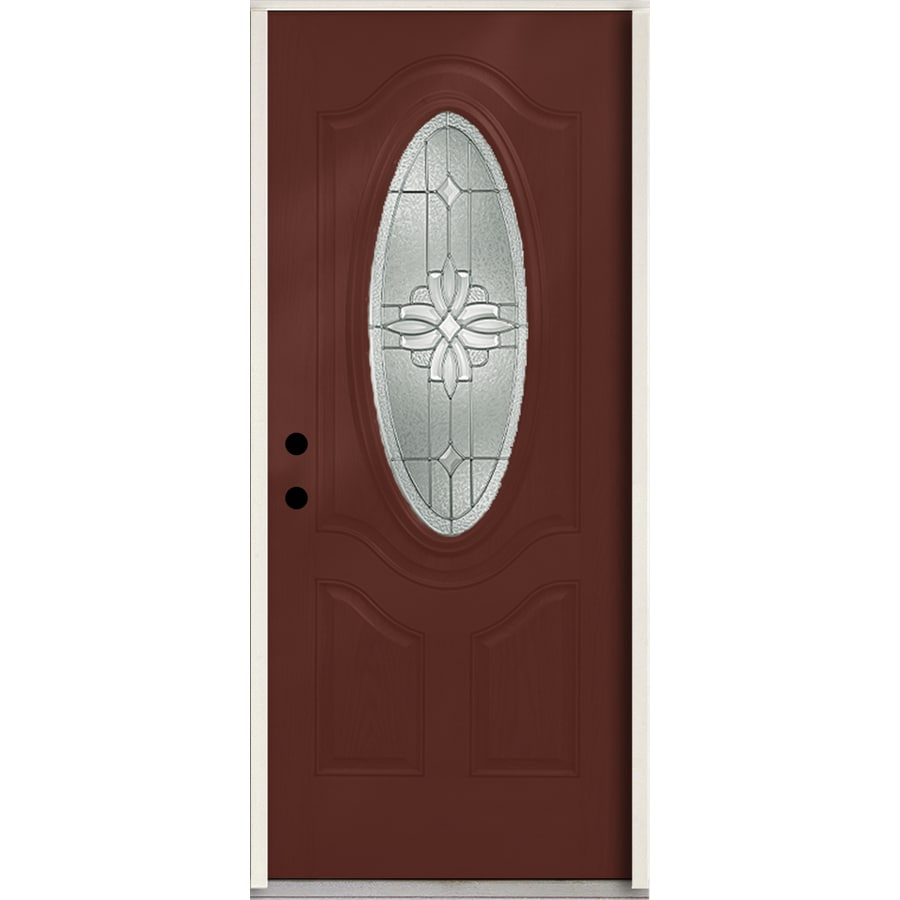 ReliaBilt Laurel 3-Panel Insulating Core Oval Lite Right-Hand Inswing Wineberry Fiberglass Stained Prehung Entry Door (Common: 36.0-in x 80.0-in; Actual: 37.5-in x 81.75-in)