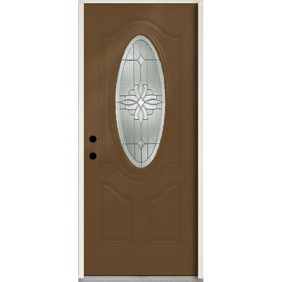 ReliaBilt Laurel 3-Panel Insulating Core Oval Lite Right-Hand Inswing Woodhaven Fiberglass Stained Prehung Entry Door (Common: 36.0-in x 80.0-in; Actual: 37.5-in x 81.75-in)