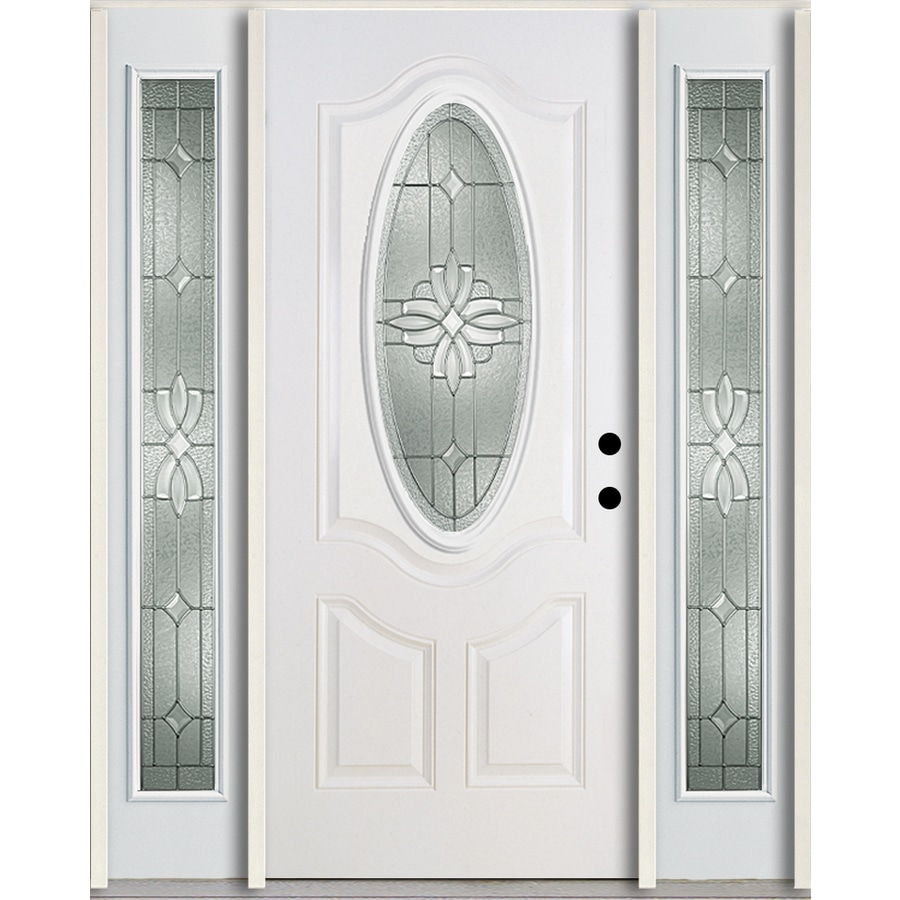 ReliaBilt Laurel 3-Panel Insulating Core Oval Lite Left-Hand Inswing Modern White Fiberglass Painted Prehung Entry Door (Common: 60.0-in x 80.0-in; Actual: 64.5-in x 81.75-in)