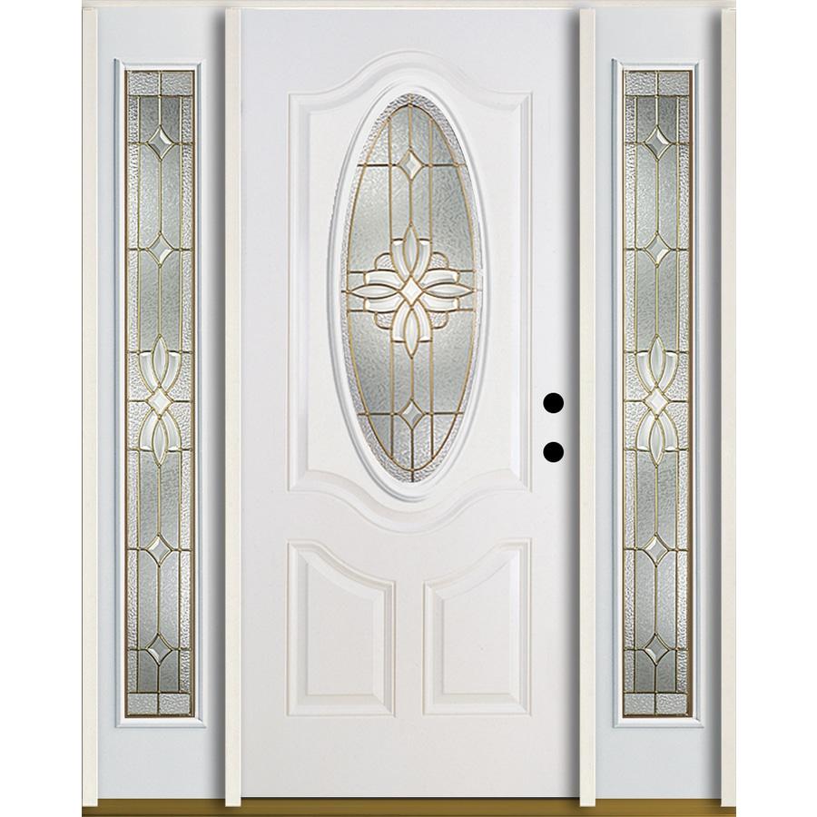 ReliaBilt Laurel 3-Panel Insulating Core Oval Lite Left-Hand Inswing Modern White Fiberglass Painted Prehung Entry Door (Common: 60-in x 80-in; Actual: 64.5-in x 81.75-in)