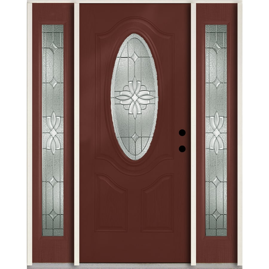ReliaBilt Laurel 3-Panel Insulating Core Oval Lite Left-Hand Inswing Wineberry Fiberglass Stained Prehung Entry Door (Common: 60.0-in x 80.0-in; Actual: 64.5-in x 81.75-in)