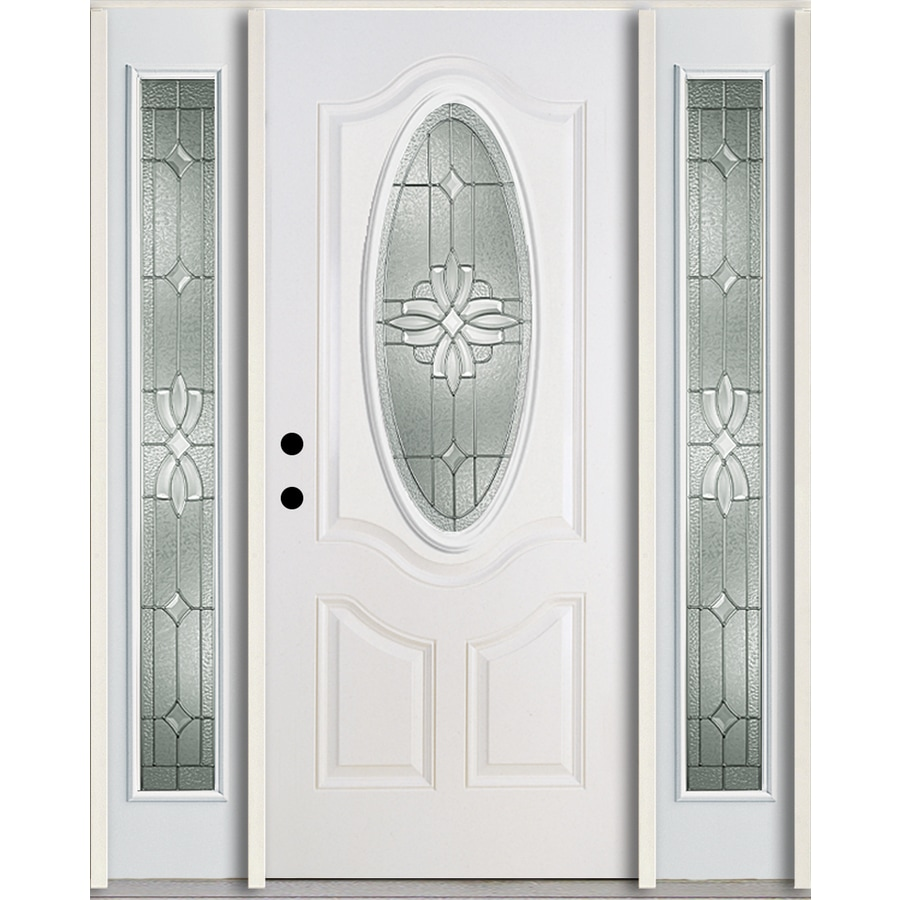 ReliaBilt Laurel 3-Panel Insulating Core Oval Lite Right-Hand Inswing Modern White Fiberglass Painted Prehung Entry Door (Common: 60.0-in x 80.0-in; Actual: 64.5-in x 81.75-in)