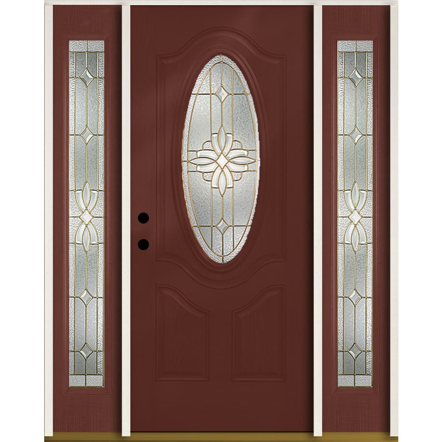 ReliaBilt Laurel 3-Panel Insulating Core Oval Lite Right-Hand Inswing Wineberry Fiberglass Stained Prehung Entry Door (Common: 60-in x 80-in; Actual: 64.5-in x 81.75-in)