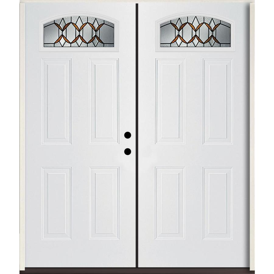 ReliaBilt Park Hill 1/4 Lite Decorative Glass Left-Hand Inswing Modern White Painted Fiberglass Prehung Double Entry Door with Insulating Core (Common: 72-in X 80-in; Actual: 73.875-in x 81.75-in)