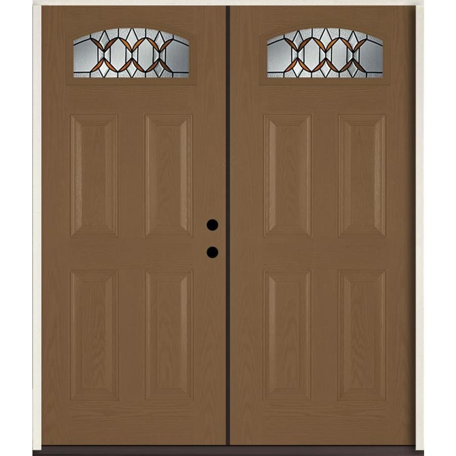ReliaBilt Park Hill Left-Hand Inswing Woodhaven Stained Fiberglass Double Entry Door with Insulating Core (Common: 72-in x 80-in; Actual: 73.875-in x 81.75-in)