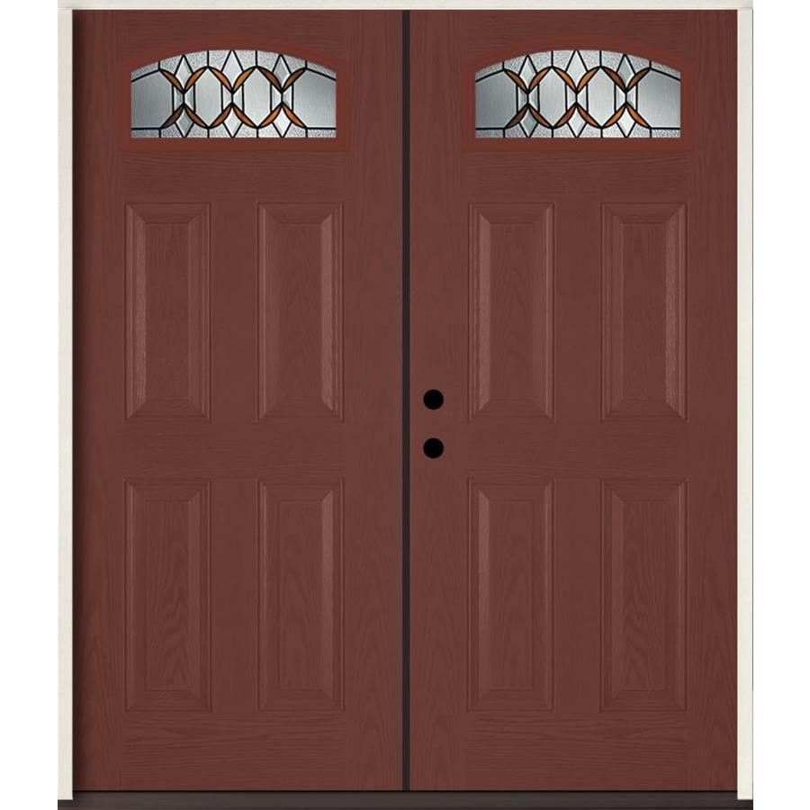 ReliaBilt Park Hill 4-Panel Insulating Core Morelight Right-Hand Inswing Wineberry Fiberglass Stained Prehung Entry Door (Common: 72.0-in x 80.0-in; Actual: 73.875-in x 81.75-in)