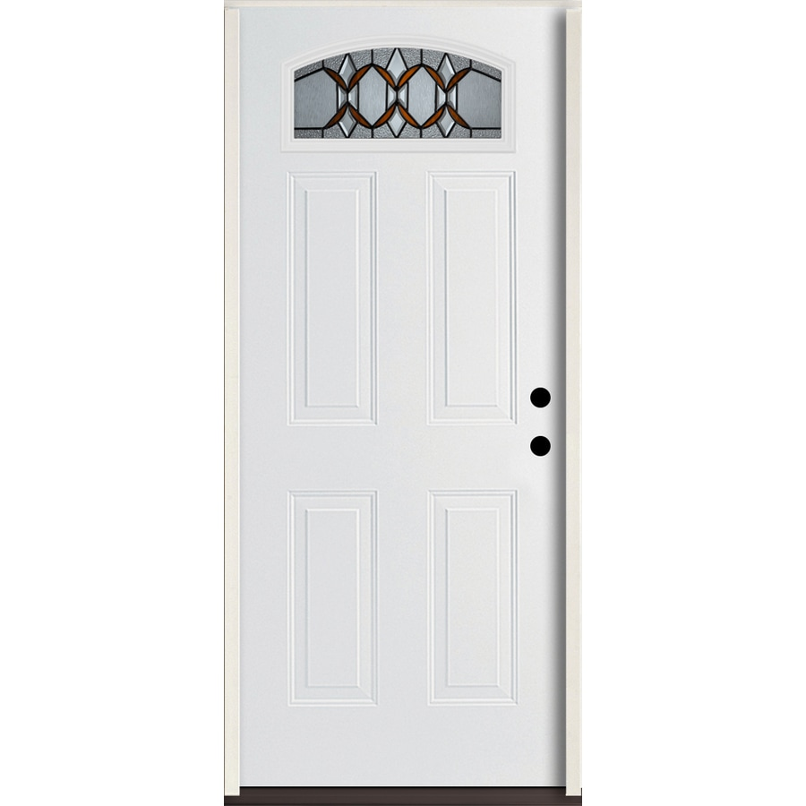 ReliaBilt Park Hill 4-Panel Insulating Core Morelight Left-Hand Inswing Modern White Fiberglass Painted Prehung Entry Door (Common: 36.0-in x 80.0-in; Actual: 37.5-in x 81.75-in)