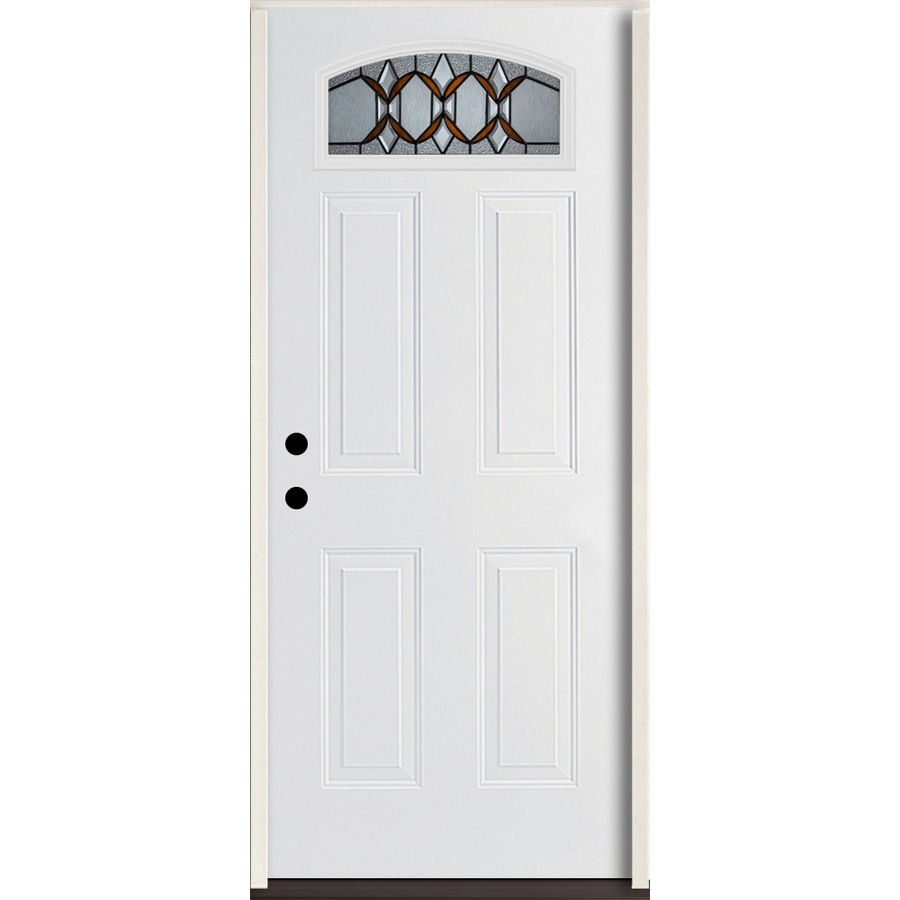ReliaBilt Park Hill Right-Hand Inswing Modern White Painted Fiberglass Entry Door with Insulating Core (Common: 36-in x 80-in; Actual: 37.5-in x 81.75-in)