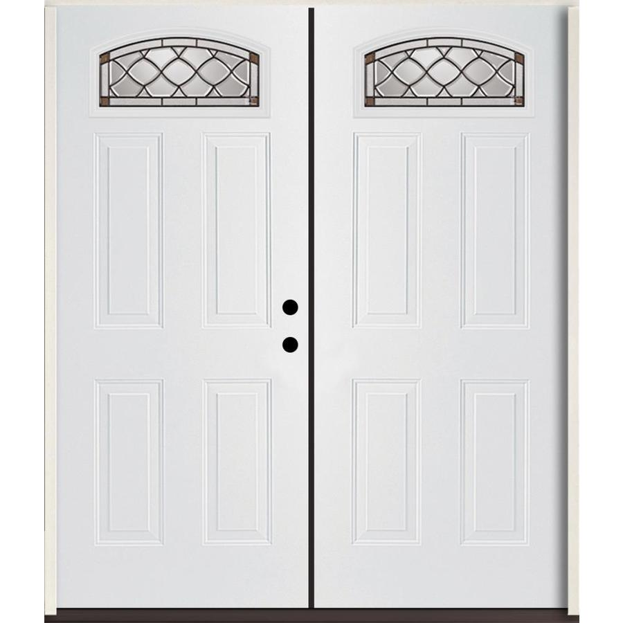 ReliaBilt Sheldon 4-Panel Insulating Core Morelight Left-Hand Inswing Modern White Fiberglass Painted Prehung Entry Door (Common: 72.0-in x 80.0-in; Actual: 73.875-in x 81.75-in)
