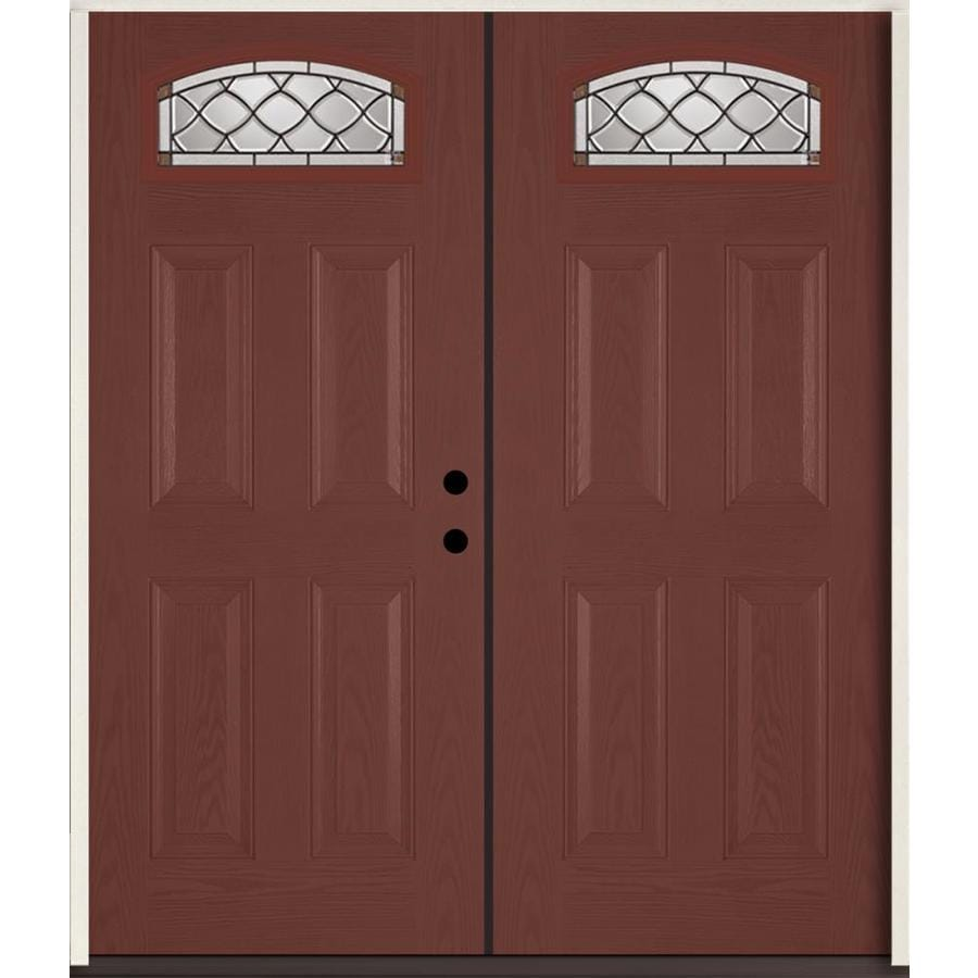 ReliaBilt Sheldon 4-Panel Insulating Core Morelight Left-Hand Inswing Wineberry Fiberglass Stained Prehung Entry Door (Common: 72.0-in x 80.0-in; Actual: 73.875-in x 81.75-in)