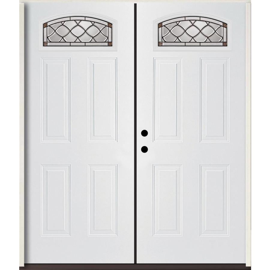 ReliaBilt Sheldon 4-Panel Insulating Core Morelight Right-Hand Inswing Modern White Fiberglass Painted Prehung Entry Door (Common: 72.0-in x 80.0-in; Actual: 73.875-in x 81.75-in)