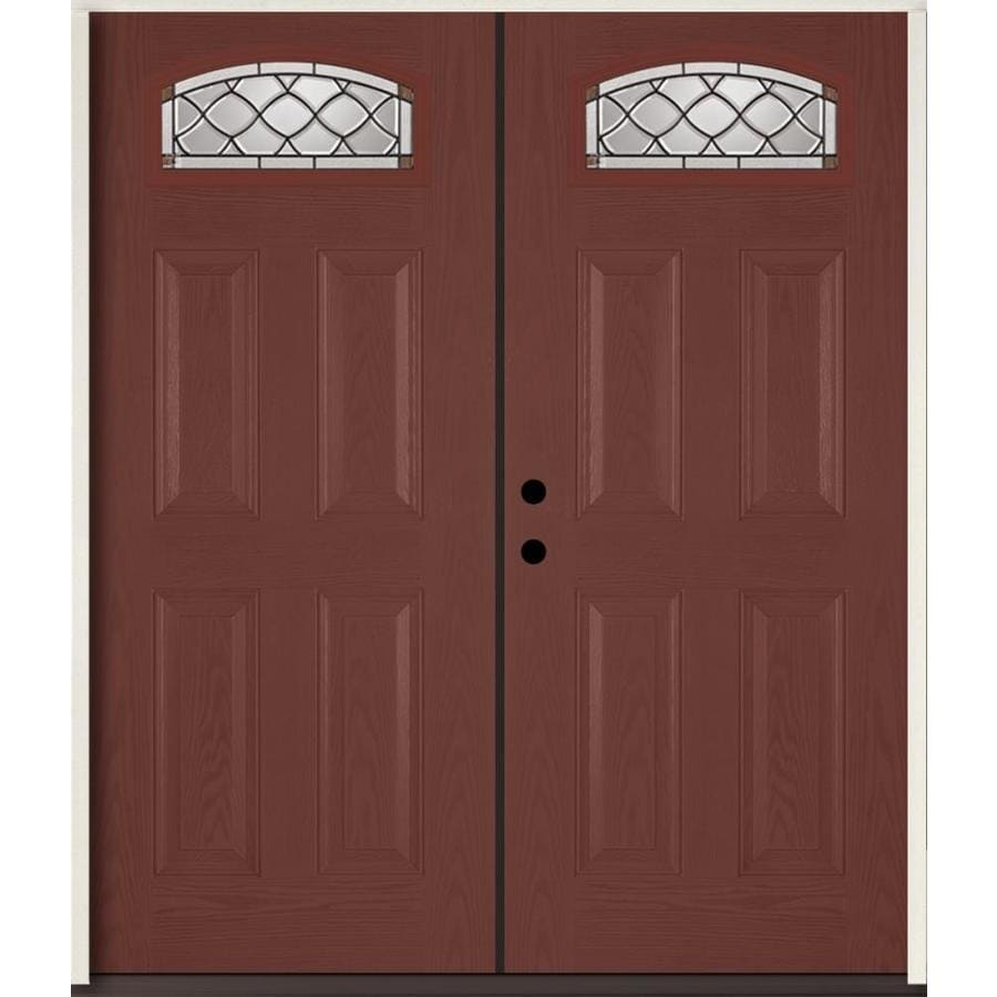 ReliaBilt Sheldon Decorative Glass Right-Hand Inswing Wineberry Fiberglass Stained Entry Door (Common: 72-in x 80-in; Actual: 73.875-in x 81.75-in)