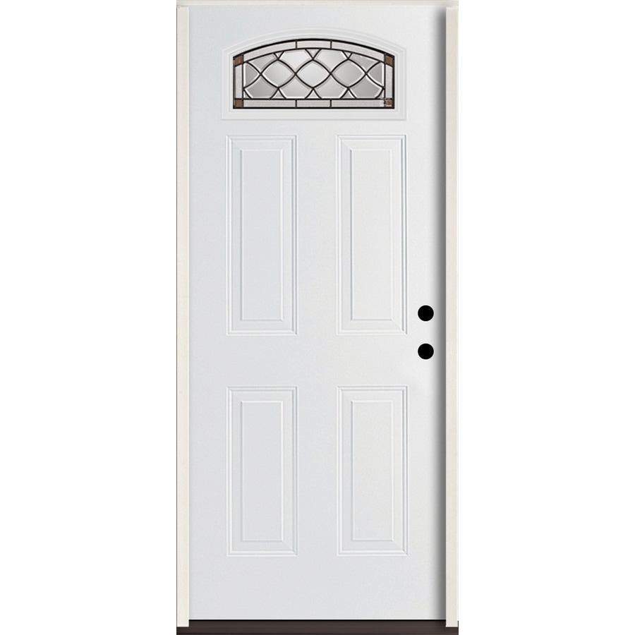 ReliaBilt Sheldon Decorative Glass Left-Hand Inswing Modern White Fiberglass Painted Entry Door (Common: 36-in x 80-in; Actual: 37.5-in x 81.75-in)