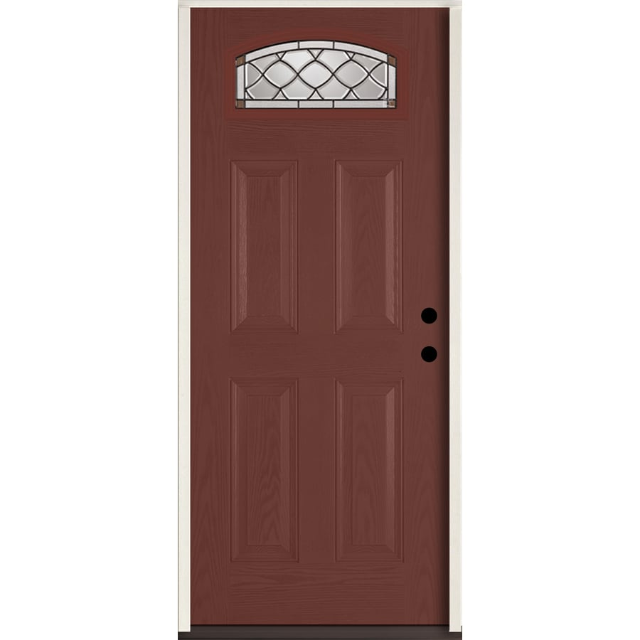 ReliaBilt Sheldon 4-Panel Insulating Core Morelight Left-Hand Inswing Wineberry Fiberglass Stained Prehung Entry Door (Common: 36.0-in x 80.0-in; Actual: 37.5-in x 81.75-in)