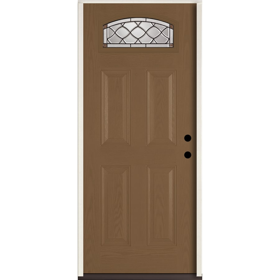 ReliaBilt Sheldon 4-Panel Insulating Core Morelight Left-Hand Inswing Woodhaven Fiberglass Stained Prehung Entry Door (Common: 36.0-in x 80.0-in; Actual: 37.5-in x 81.75-in)